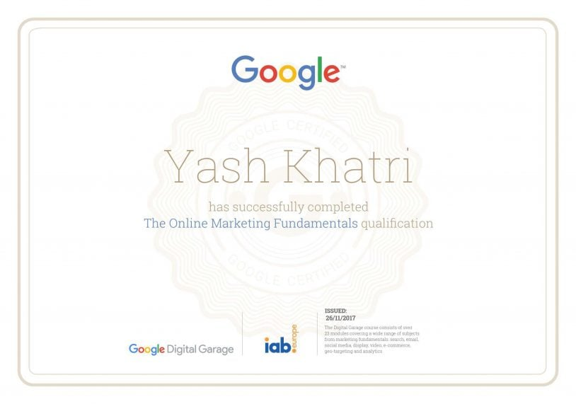 Online Marketing Fundamentals - Yash Khatri